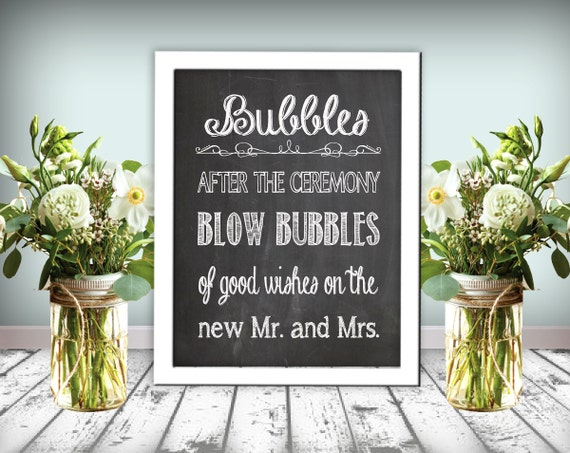 Bubbles Wedding Sign Chalkboard Printable 8x10 PDF DIY Instant Download Bubble Rustic Shabby Chic Woodland