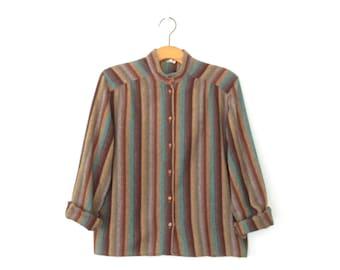 Striped Wool Shirt * 70s Blouse * Vintage 1970s Shirt * Medium