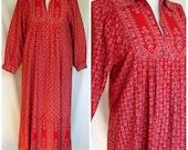 1970s Festival Dress, Red Calico, Border Print Cotton, Homemade, Medium Large