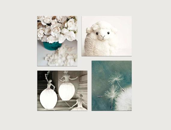 SALE, Girl Nursery Decor, 4 Photo Set, Nursery Art Prints, Blue, Teal, Beige, Cream, Neutral, Pastel Decor