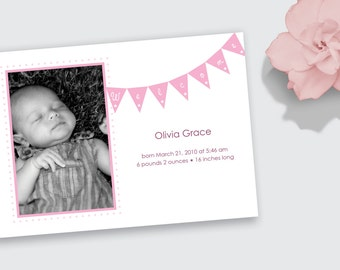 Photo Birth Announcement with Pink Bunting for Baby Girl - DEPOSIT