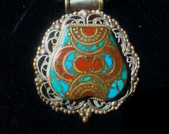 Tribal Jewelry Vintage Big Bold necklace Tibetan Turquoise Silver Artisan designed Pendant Necklace