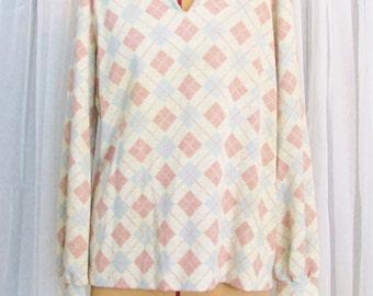 Vintage Sweater: Pastel Pink and Blue Argyle