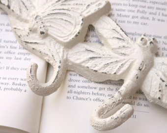 Butterfly and Dragonfly Wall Hook, Cast Iron, Hand Painted Ivory, Distressed, Shabby Chic, Animals