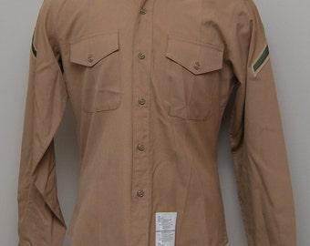 Men's Marine tan work button up shirt/ DSCP