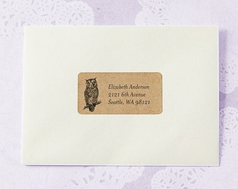 Owl Return Address Labels - OWL SET, Cute Owl Address Labels, Brown Kraft Address Labels, Owl Stickers, Wedding Return Address Labels
