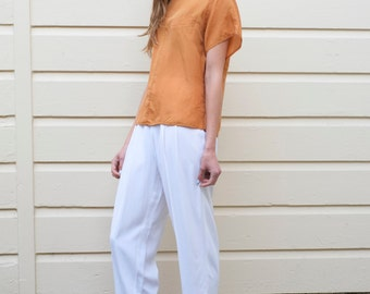 Vintage Pumpkin Silk 1980's Cropped Loose Boxy Blouse Top S/M