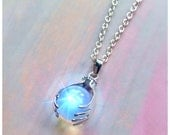 Opalite crystal ball, psychic, clairvoyant necklace, witchy