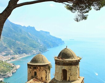 Fine Art photography, Ravello, Italy, classic Amalfi coast photo, tree, church, ocean, vintage, 8x12 shown