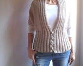 Chunky Shrug, Womens Vest, Long Sleeved Hand Knitted Bolero Scarf Cape Capelet in Sandy Brown