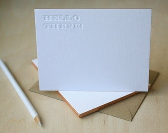 Letterpress Edge Painted Notecards - Hello There Notes