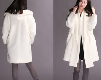 wool jacket woolen coat Bandage/Accumulation of the collar/In the long trench coat