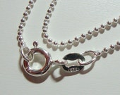 925 Sterling Silver Beautiful Flexible Beaded Ball Finished Chain Sturdy Finished, 18 Inches, 1mm, 1 pcs