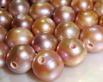 Large Hole Fresh Water Pearls, Big hole Mauve Pink Freshwater pearls, 4 pcs, 9-10mm, 2 mm Hole, Lustrous Genuine Pearls - Natural Color