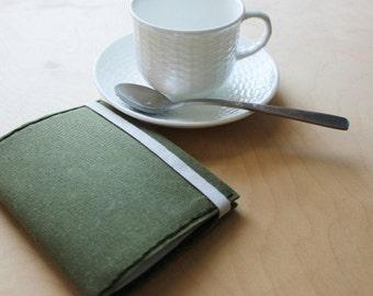 Tea tasting waxed canvas refillable journal //waxed canvas book
