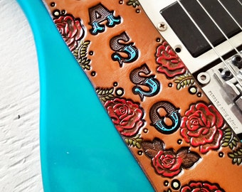 Custom Leather Guitar Strap - Acoustic or Electric - Roses - Personalized Rose Floral Design - Hand Tooled and Painted