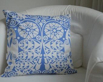 Throw Pillow Cover - Bohemian Azure Blue + White