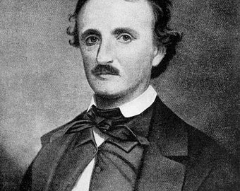 8 x 10 image produced on 8 1/2 x 11 card stock. Great for framing! Edgar Allen Poe