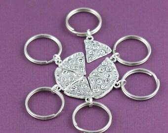 SALE - Pizza Keychain - Pizza Friendship Jewelry - Best Friends Keepsake - Stocking Stuffer - Christmas Gift Ideas  -Xmas Gift Ideas
