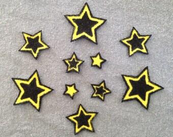 Set of 10 Stars Black Yellow No Sew Iron On Appliques