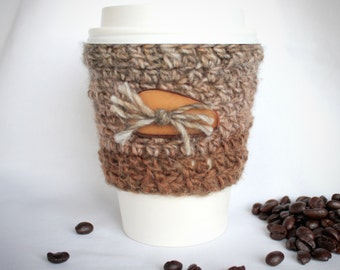 Decorative Button travel mug cup cozy coffee crochet variegated brown