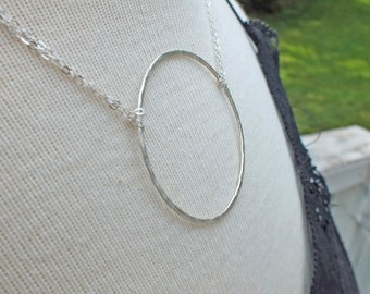 Hammered Circle Sterling Silver Necklace, Circle Necklace, Hammered Circle Necklace