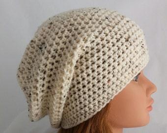 womens hats, womans crochet slouchie beanie, hat, girls crochet slouch hat, cream, beige, ivory, vegan friendly, tweed, flecks, 4441