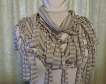Infinity Scarf - Heathered Grey Stripe Knit - JD Designs