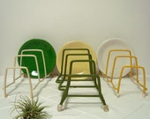Dish Racks 3 Vintage Rubber Coated Green Gold White Retro Display