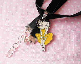 Velvet Choker, Betty Boop Choker, Betty Boop Necklace, Velvet Necklace, Choker Necklace, Cute Choker, Vintage Choker, Retro Choker, Black