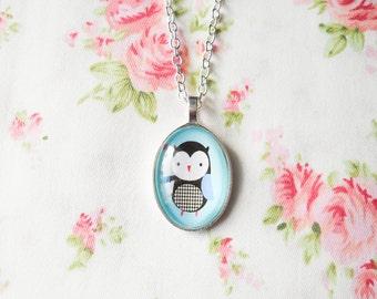 Owl Necklace, Owl Pendant, Cute Owl Necklace, Cute Necklace, Kawaii Necklace, Owl Cabochon, Glass Cabochon, Cabochon Pendant