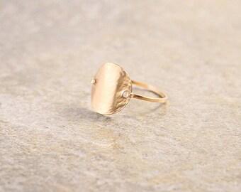 Rose Gold Circle Shield Bohemian Ring Textured Made to Order