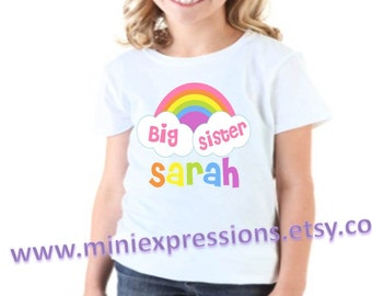 Rainbow BIG SISTER shirt Personalized