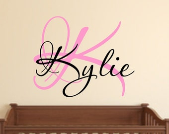 Vinyl wall decal Custom and personalized initial and name wall decor nursery  D81c