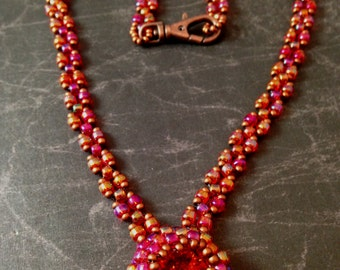 Burning Sunset - Beadweave Rivoli Necklace