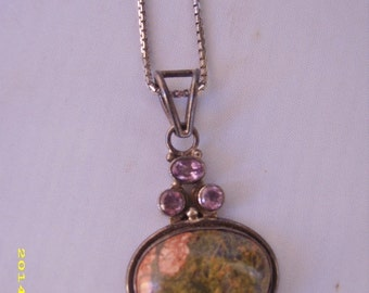 SALE-Vintage Sterling Silver Amethyst Genuine Stone Pendant and Sterling Silver 30 inch Chain
