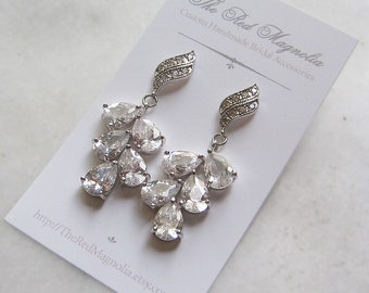Cubic Zirconia Chandelier Earrings, Crystal Bridal Earrings, Rhinestone Earrings, Vintage Style - ADONA