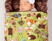 Baby Blanket - Rustic Fox and Woodland Animals Double Minky Baby Blanket - Boy or Girl - Shower - Birthday - Gift - Fox - Owls - Theme