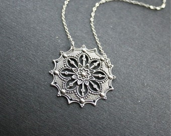 Silver Flower Pendant Necklace, Victorian Style Filigree, Flower Necklace, Sterling Silver