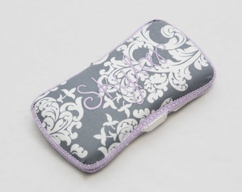 Personalized Wipes Case - Grey damask