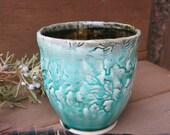 Ceramic Tumbler Cup Yunomi Chawan Tea Bowl Textured Porcelain Aqua Blue Green and Black, Handmade Artisan Pottery by Licia Lucas Pfadt