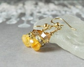 Citrine Earrings Grade AAA Golden Shadow Swarovski Crystal Yellow Earrings Stone Drops Gold Filled Sterling Silver November Birthstone Gift