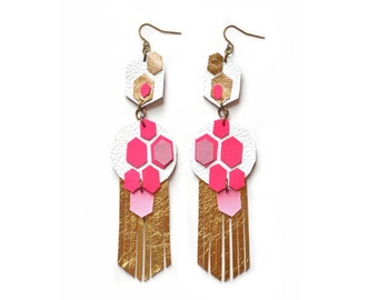 Geometric Earrings, Hot Pink Hexagon Earrings, Metallic Gold Earrings, Fringe Leather Earrings, Neon Chandelier Earrings, Geometric Jewelry