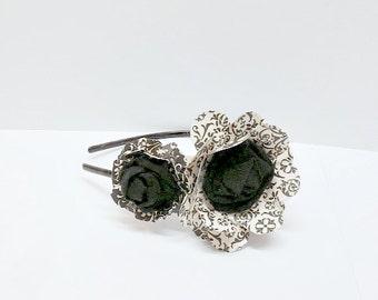 Swirled In Black & White Daisy Paper Mache Headband