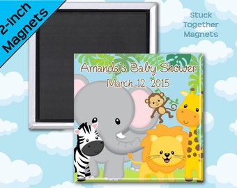 Safari Animals Baby Shower Favor Magnets - 2 Inch Squares - Set of 10 Magnets
