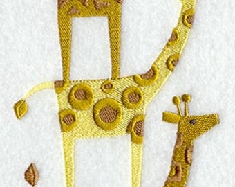 Giraffe Stack Animal Stack Embroidered Quilt Block Square or White Cotton Towel