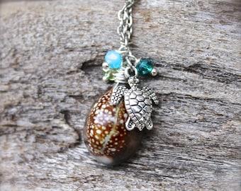 Hawaii Seashell Necklace - Sea Turtle Jewelry from Hawaii - Hawaiian Shell Necklace - Beach Boho Jewelry - Sea Turtle Necklace Shell Jewelry