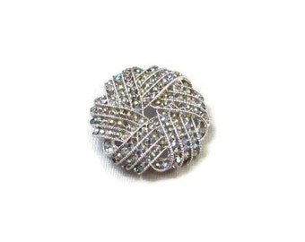 Blue Rhinestone Brooch Round Silver Pin