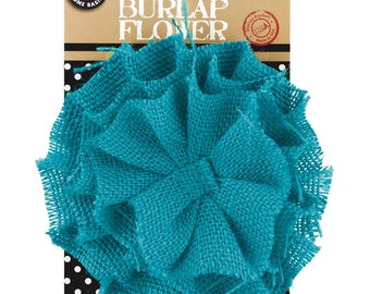 Canvas Corp   Burlap  Flower  TEAL  4 inch  Decorate, Cards, Gift Wrap, Turquoise, Aqua