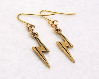 Harry Potter Inspired Earrings Lightning Bolt Scar in Gold - Cosplay Jewelry, Ms Marvel, Static Shock, Flash, Storm, Geek